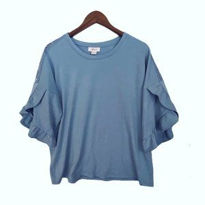 New Style & Co Flutter Sleeve Blouse Top Sz M